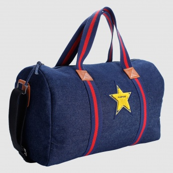 Iconic Embroidered Denim Duffel Bag with Zip Closure