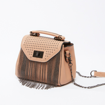 Studded Satchel Bag with Fringe Detail and Twist Lock
