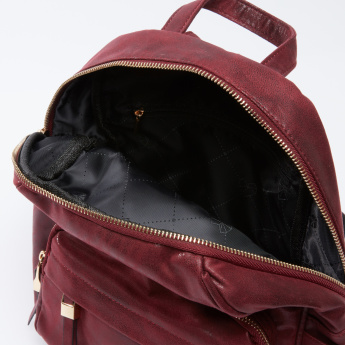 Textured Backpack with Zip Closure and Adjustable Straps