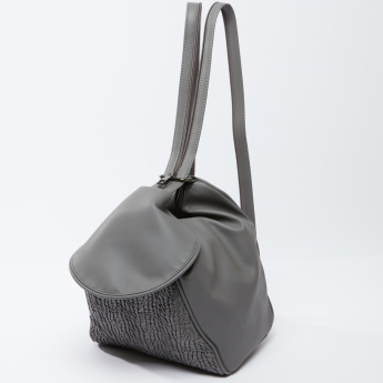 Textured 2-in-1 Handbag with Flap and Shoulder Straps