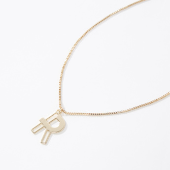 Metallic Alphabet R Pendant Necklace with Lobster Clasp