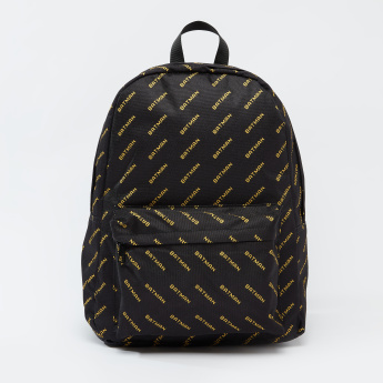 Batman Printed Backpack with Adjustable Shoulder Straps and Top Handle