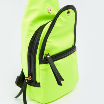 Solid Crossbody Bag with Zip Closure and Adjustable Straps