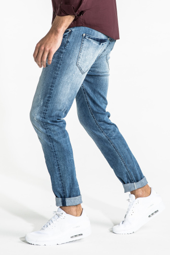 CR7 CRISTIANO RONALDO Distressed Full Length Jeans with Pocket Detail