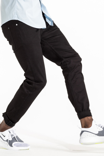 CR7 CRISTIANO RONALDO Pocket Detail Low-Rise Jeans with Zip Closure