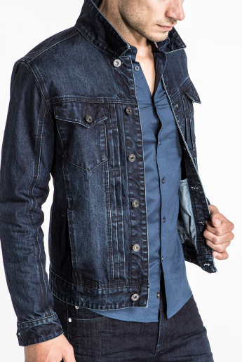 CR7 CRISTIANO RONALDO Long Sleeves Denim Jacket with Button Closure and Pocket Detail