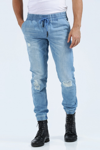 6ce2f50a4d3 Full Length Denim Jeans with Elasticised Cuffs