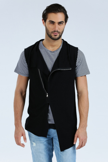 Iconic Sleeveless Jacket with Zip Closure