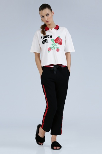Iconic Printed Polo Neck T-Shirt with Short Sleeves