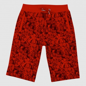 Iconic Spider-Man Printed Shorts with Elasticised Waistband