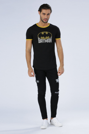 Iconic Batman Printed T-Shirt with Round Neck and Short Sleeves