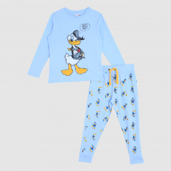 Iconic Donald Duck Printed T-Shirt and Pajama Set