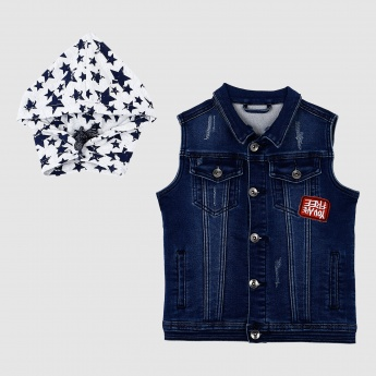 Iconic Sleeveless Denim Jacket with Detachable Hood