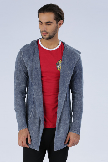 Iconic Embroidered Open Front Jacket with Long Sleeves and Hood