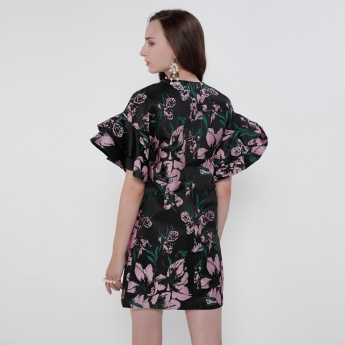 Iconic Printed Mini Dress with Embellished Patch and Frilled Sleeves