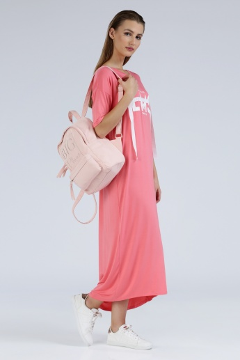 Iconic Round Neck Maxi Dress with Short Sleeves