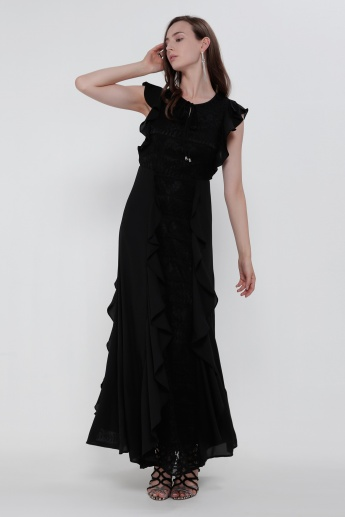 Iconic Sleeveless Maxi Dress with Ruffle Detail