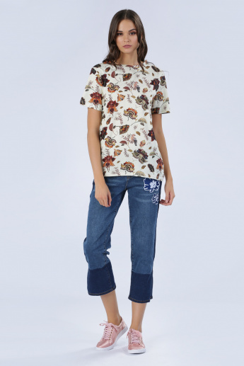 Iconic Floral Print T-Shirt with Short Sleeves