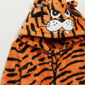 Iconic Tiger Printed Long Sleeves Hooded Jumpsuit