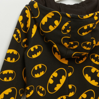 Iconic Batman Printed Hooded Long Sleeves Jumpsuit