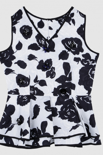 Iconic Jacquard Printed Sleeveless Top