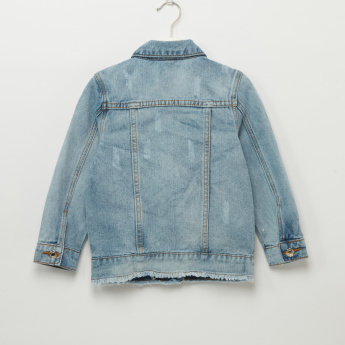 Iconic Light Washed Applique and Pearl Detail Denim Jacket