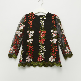 Iconic Floral Embroidered Round Neck Top
