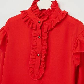 Iconic Long Sleeves Frill Detail Top
