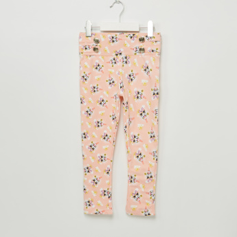 Iconic Daisy Duck Printed Treggings with Button Detail