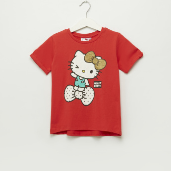 Iconic Hello Kitty Printed Round Neck T-Shirt