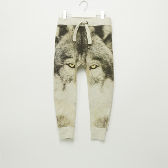 Iconic Wolf Printed Jog Pants with Elasticised Waistband