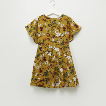 Iconic Floral Printed Dress with Zip Closure and Frills