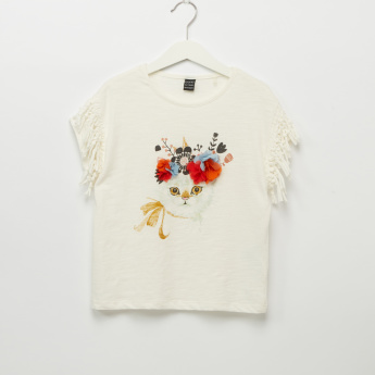 Iconic Cat Graphic Printed Flower Applique and Fringe Detail Top