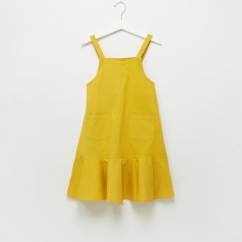 Iconic Pocket and Ruffle Detail Pinafore Dress