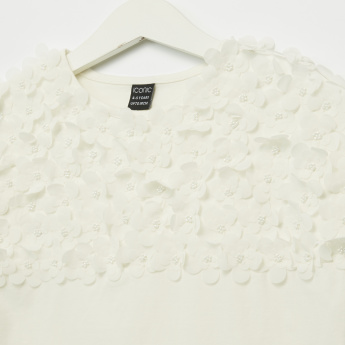 Iconic Flower Applique Round Neck Cap Sleeves Top