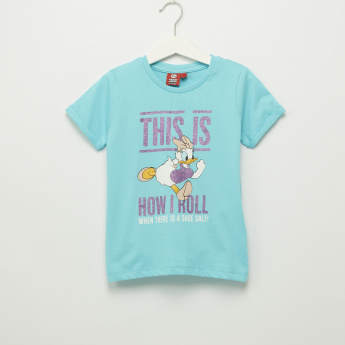 Iconic Daisy Duck Printed Round Neck T-Shirt