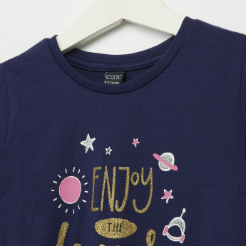 Iconic Enjoy the Universe Printed Short Sleeves T-Shirt