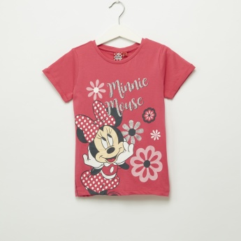 Iconic Minnie Mouse Printed Round Neck Short Sleeves T-Shirt