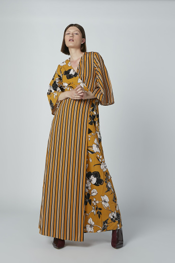 1b970ff60517f Iconic Floral Printed Wrap Maxi Dress with Flared Sleeves | Multicolour
