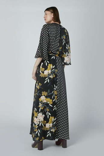 Iconic Floral and Polka Dot Print Wrap Dress with 3/4 Sleeves