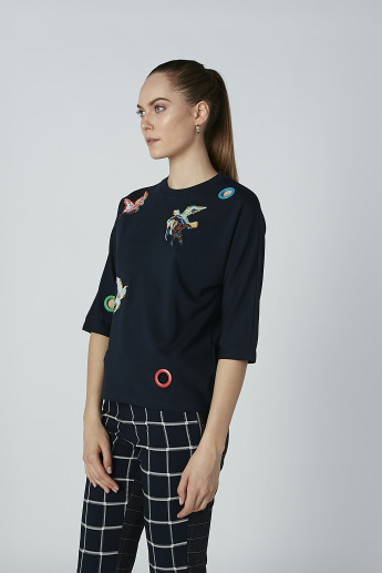 Iconic Embroidered and Eyelet Detail Top with 3/4 Sleeves