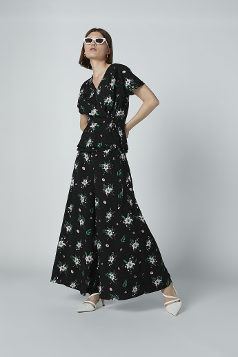 Iconic Floral Printed Palazzo Pants in Wide Fit