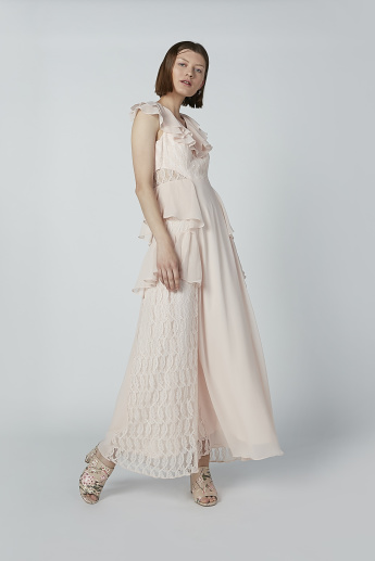 45c3ad8624c80 Iconic A-Line Maxi Dress with Ruffle and Lace Detail