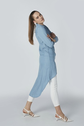 Iconic Plain Tunic with Asymmetric Hem and Long Sleeves