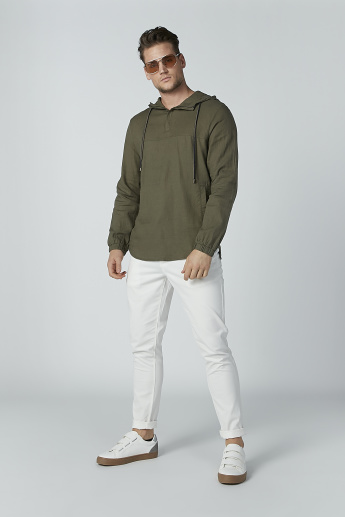 Iconic Plain Shirt with Long Sleeves and Hood