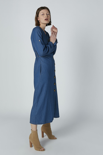 Iconic Plain Midi Shirt Dress with Long Sleeves