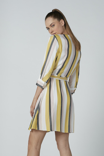 Iconic Striped Wrap Jacket with 3/4 Sleeves and Tie Up Belt