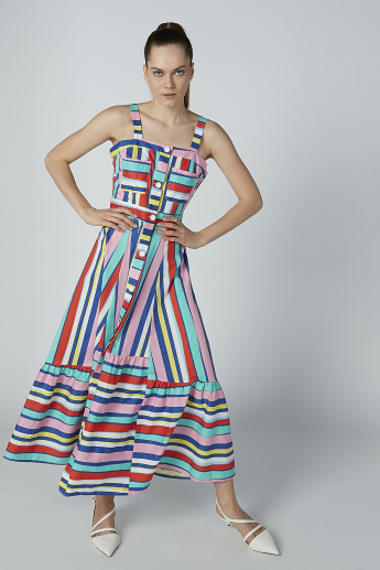 Iconic Striped A-line Maxi Dress with Shoulder Straps