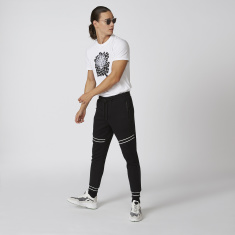 Iconic Slim Fit Full Length Mid Waist Jog Pants with Stripe Detail