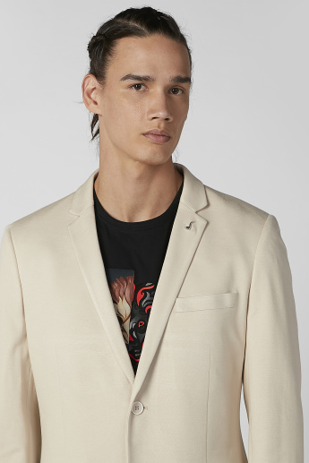 Iconic Slim Fit Plain Blazer with Notched Lapel and Long Sleeves